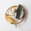 K12金-Curtman-翡翠の葉に月光真珠アンティーク・ブローチ