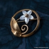 Creed-K12金-真珠貝フラワー・サークル・ブローチ