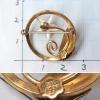 Creed-K12金-真珠貝フラワー・サークル・ブローチ(サイズ、刻印)