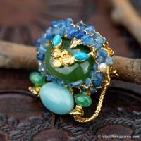 Swoboda スワボダ-天然石ブルー・ライオン・ヴィンテージ・ブローチ(メイン画像)