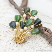 Swoboda スワボダ-天然石-翡翠と真珠のハート盆栽ヴィンテージ・ブローチ