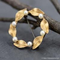 Krementz-K14金-真珠と葉っぱのヴィンテージ・サークル・ブローチ(メイン画像)