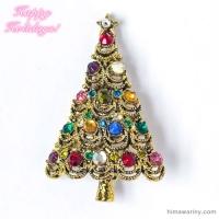 Hollycraft ホリークラフト-クリスマスツリー・ヴィンテージ・ブローチ(メイン画像)