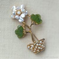Swoboda スワボダ-天然石-翡翠と真珠の盆栽ヴィンテージ・ブローチ
