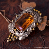 アールヌーボー琥珀色ガラスのドレス・クリップ・ブローチ