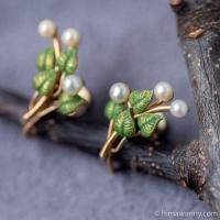 Krementz 真珠−野の花イヤリング