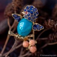 Swoboda スワボダ-天然石青い鳥ヴィンテージ・ブローチ