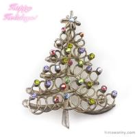 燻銀ドローイング・クリスマスツリー・アンティーク・ブローチ