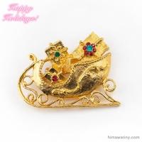 MYLU-クリスマスプレゼントを届ける黄金のソリのヴィンテージ・ブローチ(メイン画像)